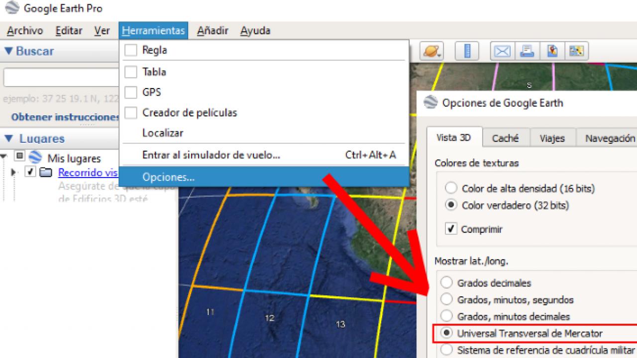 Coordinate UTM in Google Earth: Geofumed