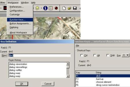 функцыянальныя клавішы MicroStation