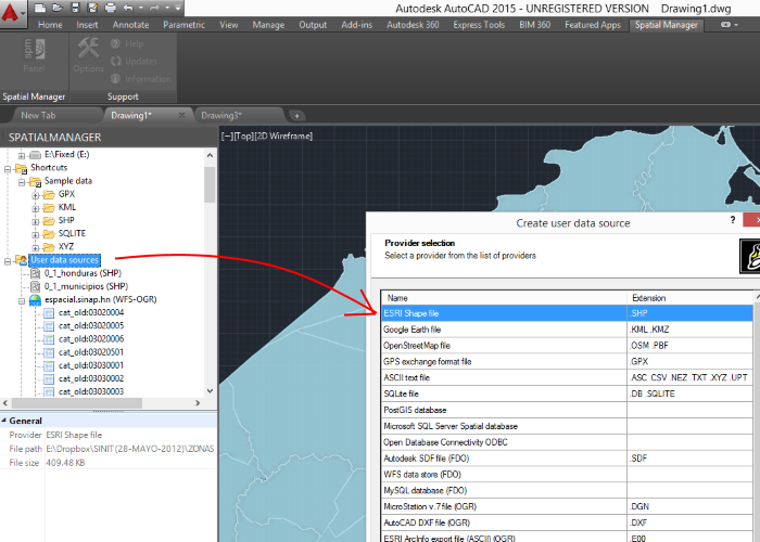 Spatial Manager: Efficiently manage spatial data, even from AutoCAD