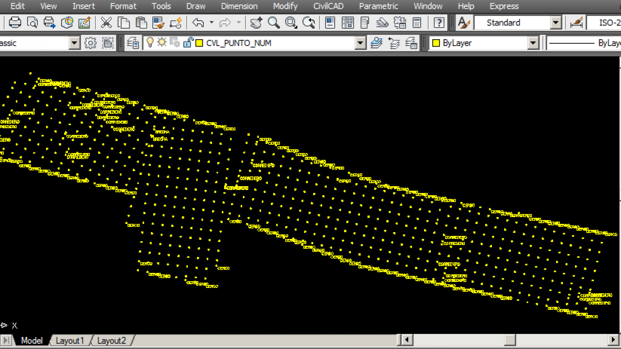 Import points and generate a digital terrain model in a CAD